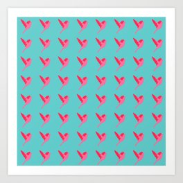 Pink birds flying pattern Art Print