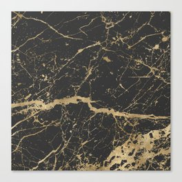 Marble Black Gold - Whistle Canvas Print