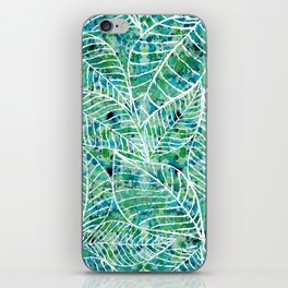 White and green leaves iPhone Skin