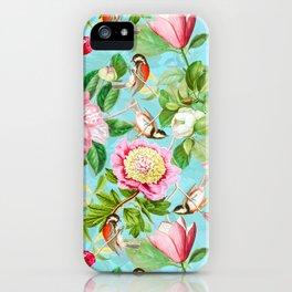 Vintage & Shabby Chic - Spring Birds Peonies Magnolia Botanical Garden  iPhone Case