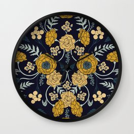 Navy Blue, Turquoise, Cream & Mustard Yellow Dark Floral Pattern Wall Clock