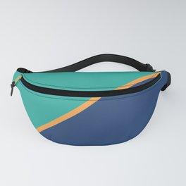 Mint & Dark Blue - oblique Fanny Pack