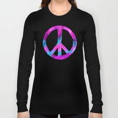 Purple Blue Watercolor Peace Sign Long Sleeve T-shirt