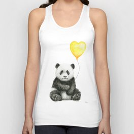 Panda with Yellow Balloon Baby Animal Watercolor Nursery Art Unisex Tank Top