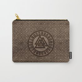 Valknut Symbol and Runes on Celtic Pattern on Wood Carry-All Pouch