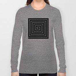 Black White Spiral Long Sleeve T-shirt