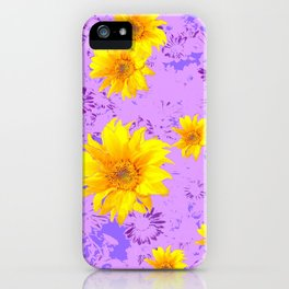 LILAC PURPLE ABSTRACT YELLOW FLOWERS ART iPhone Case