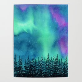 """Wilderness Lights"" Aurora Borealis watercolor landscape painting Poster"