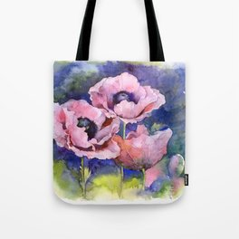 Watercolor Poppies Flowers Art Tote Bag