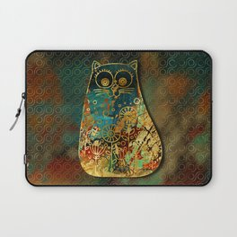 Cute Boho Style cat on paint texture and gold outline Laptop Sleeve