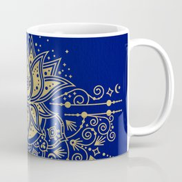 Sacred Lotus Mandala – Navy & Gold Palette Coffee Mug