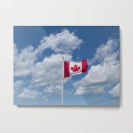 Maple Leaf Flag Flying High Metal Print