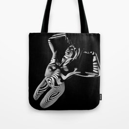 0465s-MM Black White Striped Art Nude Kneeling Woman Arched Back Bliss Tote Bag