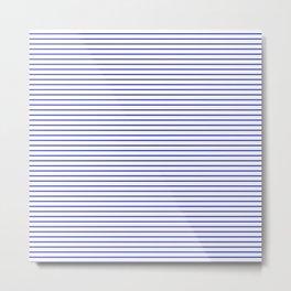 White and Royal Blue Nautical Horizontal Stripes Metal Print