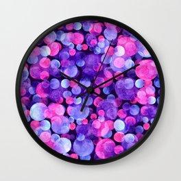 Ultra violet watercolor boken circles Wall Clock