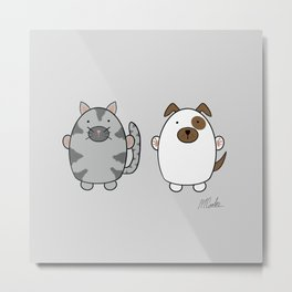 Cats and Dogs on grey Metal Print