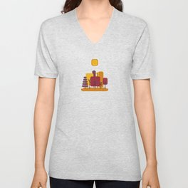 Sun over Autumn Forest Unisex V-Neck