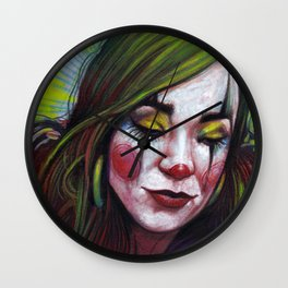 Portrait - Mellon Collie Mystery Clown Girl Wall Clock