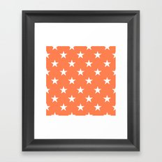 Stars (White/Coral) Framed Art Print