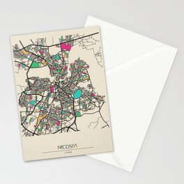 Colorful City Maps: Nicosia, Cyprus Stationery Cards