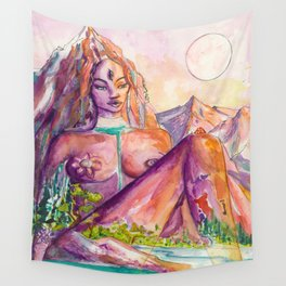 One With Nature - Mountain Goddess Watercolor Wall Tapestry