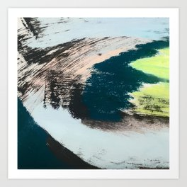 Imagine: a minimal, mixed media piece in black, white, blue, teal, yellow, and peach Art Print