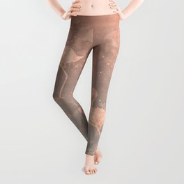 Flamingo Butterfly watercolor pastel grey apricot color artwork Leggings