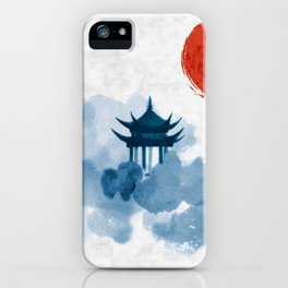 Blue pagoda temple, red sun and forest trees. Traditional oriental ink painting sumi-e, u-sin, go-hu iPhone Case