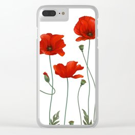 Poppy Stems Clear iPhone Case