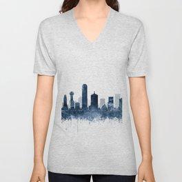 Dallas Skyline Navy Blue Watercolor by Zouzounio Art Unisex V-Neck