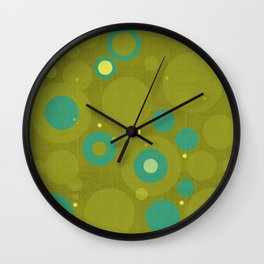 """Retro Dots Colorful"" (Olive & Teal) Wall Clock"