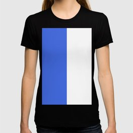 White and Royal Blue Vertical Halves T-shirt