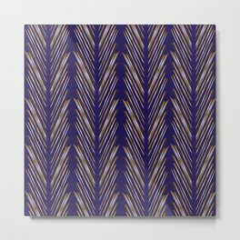 Navy Blue Wheat Grass Metal Print