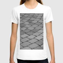 Black and White Brick Pattern Cobble Stones Road T-shirt