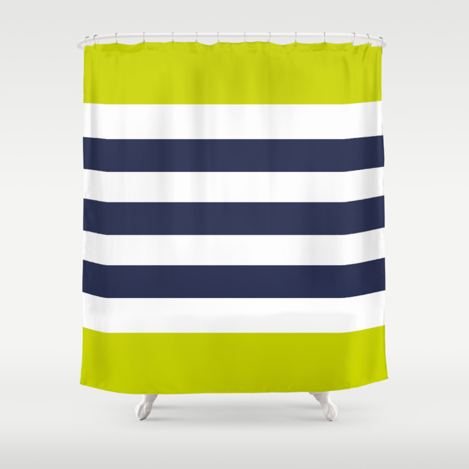 Modern Cly Navy Blue Lime Green Stripes Shower Curtain
