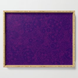 Clockwork PURPLE DREAM / Cogs and clockwork parts lineart pattern Serving Tray