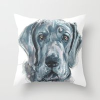 great dane Throw Pillows featuring Baden // Blue Great Dane by ali_grace_gal