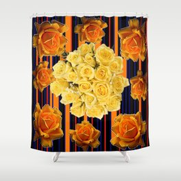 GOLDEN & YELLOW ROSES DARK STRIPES ART Shower Curtain