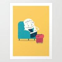 :::Reading on sofa::: Art Print