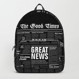 The Good Times Vol. 1, No. 1 REVERSED / Newspaper with only good news Backpack