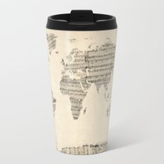 Old Sheet Music World Map Travel Mug