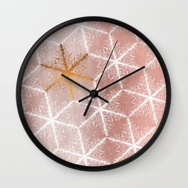 Elegant Geometric Gold Snowflakes Holiday Pattern Wall Clock