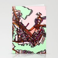 boston map Stationery Cards featuring Abstract Map- East Boston by Carland Cartography