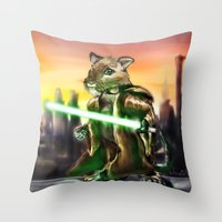 jedi Throw Pillows featuring Gerbil Jedi by Wesley S Abney