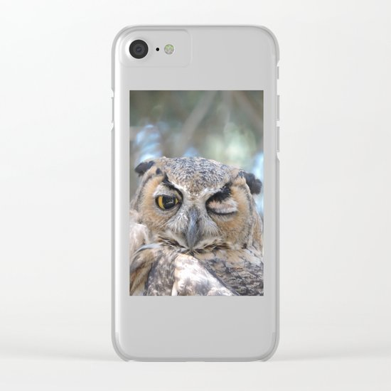 Owl Wink Clear iPhone Case