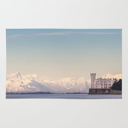Miramar Castle with Italian Alps in background. Trieste Italy Rug