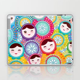Russian dolls matryoshka, pink blue green colors colorful bright pattern Laptop & iPad Skin