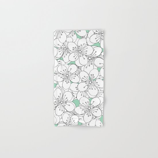 Cherry Blossom With Mint Blocks - In Memory of Mackenzie Hand & Bath Towel