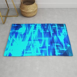 Abstract cloudy triangles on blue sparkling sky. Rug