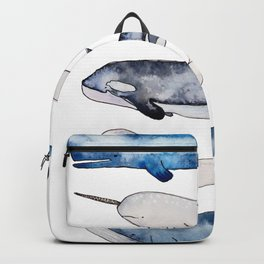 Watercolor orca whale, spermwhale, humpback, narwhal, beluga whales Backpack